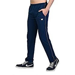 White Moon Cotton Blend Track Pant For Men With One-Sided Zip
