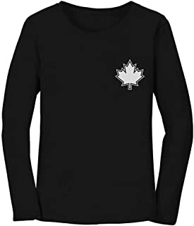 Canada Day Maple Leaf Pocket Print Canadian Patriotic Women Long Sleeve T-Shirt
