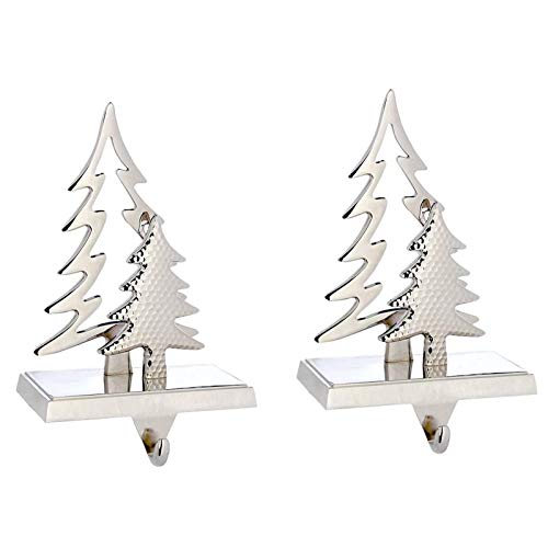 MINILIFE Christmas Stocking Hanger, Double Christmas Tree Stocking Holder for Mantle - Holiday Mantle Fireplace Topper Silver Christmas Decoration (Silver tree2)