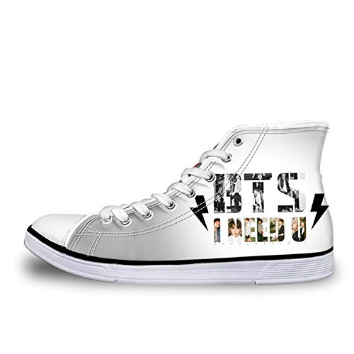 Fashion Kpop BTS Print High top Canvas Shoes Women Classic Lace-up Vulcanize Shoes Girls Leisure Sneakers Shoes Girl H9707AK 35