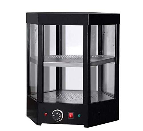 Oven Gabinete De Aislamiento De Escritorio Hexagonal De 2 Niveles Encimera Comercial Pizza Gabinete De Calentamiento De Alimentos Gabinete De Calentamiento De Repostería Acero Vidrio Negro