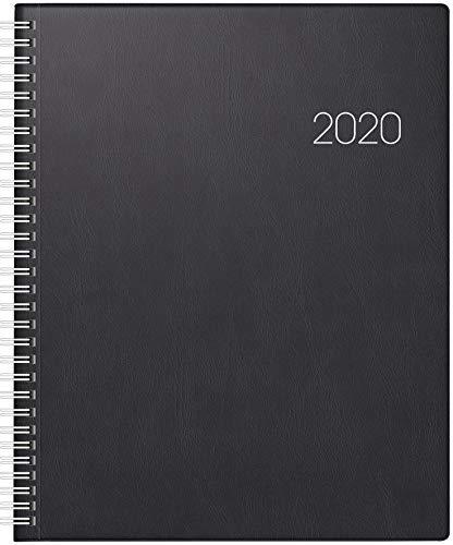 BRUNNEN 107610190 Buchkalender Manager Wt 7 - weektimer (2 Seiten = 1 Woche, 21 x 26 cm, Kunststoff-Einband, Kalendarium 2020, Wire-O-Bindung) schwarz