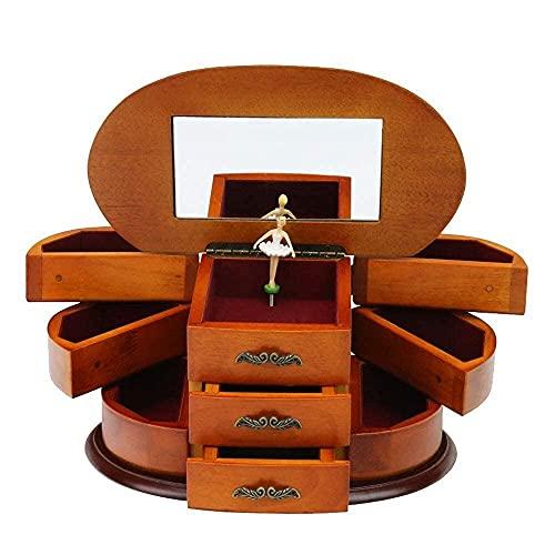 erddcbb Boîte à Bijoux Musicale avec Coffre à Bijoux Ballerine en Rotation avec boîte à Musique Miroir pour boîte à Bijoux féminine