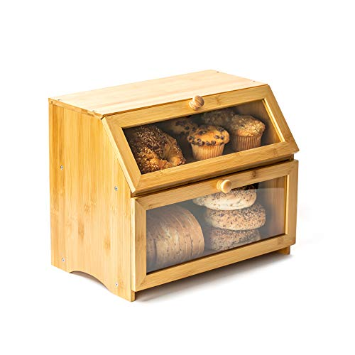 Froese Woodworks Bamboo Bread Box for Kitchen Countertop. 2 Layer Clear Bread Box Plexiglass Windows. Extra Large Bread Container, Counter Wood Bread Bin Box. Breadbox with Airtight Bread Storage
