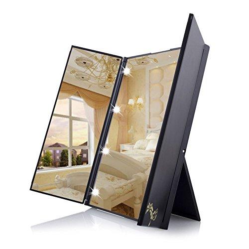 鏡 スタンドミラー 折りたたみ式の三面鏡 ハートの形をしたLEDライトが8個 角度調整可能化粧鏡 Luuhann