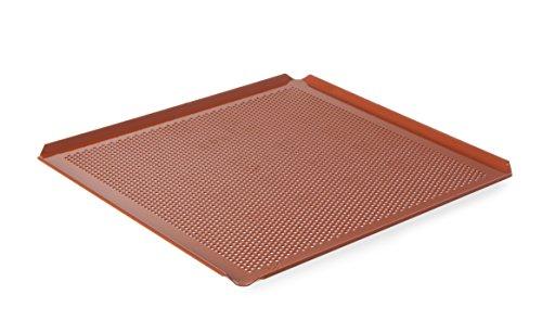 HENDI Backblech mit Teflon™ Antihaft Beschichtung, mit 4 Aufkantungen, perforiert, GN 2/3, 354x325x(H)10mm, Aluminium