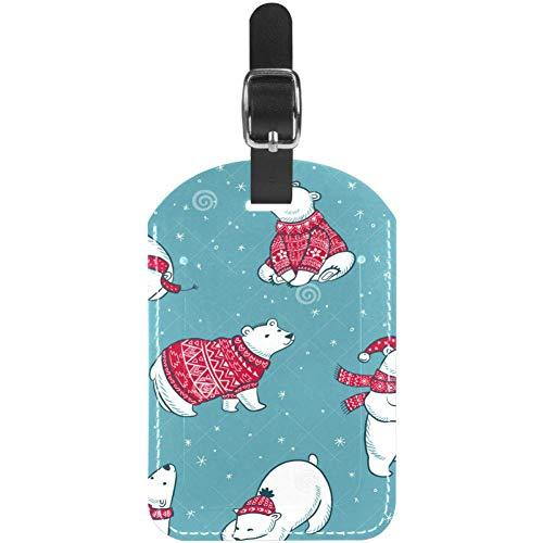 Etiquetas de equipaje de Navidad, bufanda, sombrero de oso polar de cuero, etiquetas para maleta de...