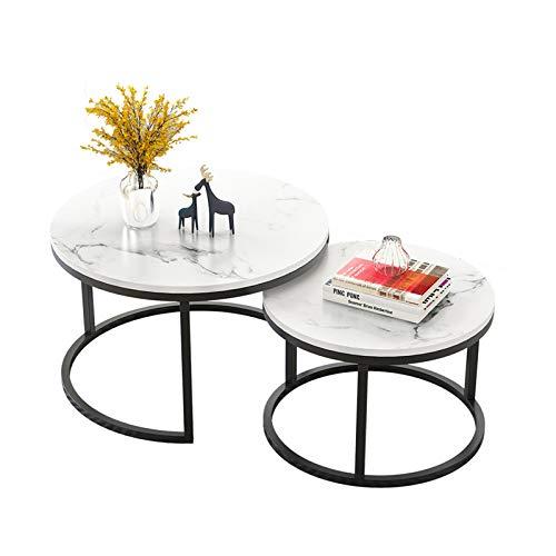 Table Basse De Comptoir Moderne À Haute Densité, De Salon Combinée Ronde Mobile, D'extrémité De Canapé en Métal, Blanc