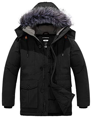 CHIN·MOON Męski zimowy płaszcz wiatroszczelny kurtka buforowa pikowana kurtka długa, parka z kapturem ze sztucznego futra.