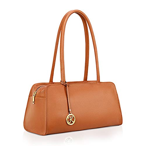 Kattee Leather Purses and Handbags for Women Small Top-handle Tote Bag Satchel Shoulder Bags Brown