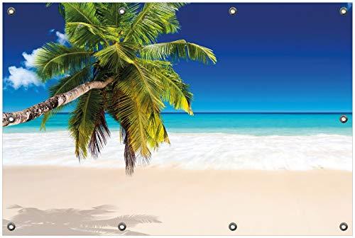 Wallario Garten-Poster Outdoor-Poster, Südseestrand in der Karibik mit Palme in Premiumqualität, für den Außeneinsatz geeignet