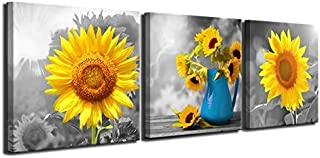 Maectpo Bathroom Wall Decor Triptych Flower Canvas Wall Art Yellow Sunflower Pictures Canvas Prints for Bedroom Dining Room Living Room Wall Decor 3 Piece Set Artwork for Walls Ready to Hang