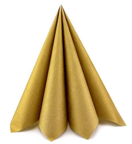 finemark 100 Stück (0,14€/Stück) Papierservietten Gold 33 x 33 cm Tissue kleine Servietten 3- lagig Hochzeit Geburtstag Cocktail Tischdekoration