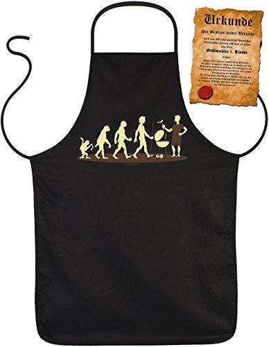 Grill-Schürze Evolution Griller BBQ Fun Koch-Schürze geil bedruckt Geschenk-Set mit Grillmeister-Urkunde