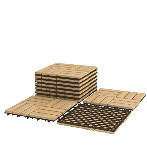Giantex Interlocking Patio Deck Tiles, Acacia Wood Deck Tiles, Tools Free Assembly, Wood Composite Patio Pavers, Pack of 10 Outdoor and Indoor Flooring Tiles, 12' x 12' (Checker Pattern)