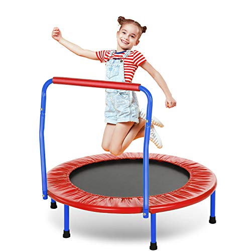 ANCHEER Trampolin Kinder 36'' Inch Mini Trampolin für Drinnen,Klappbar Fitness Kindertrampolin Indoor,Kind Minitrampolin mit Haltegriff,mit Haltegriff Belastung Bis 75kg