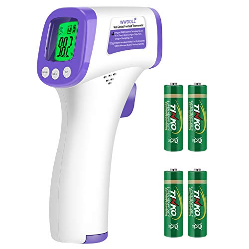WWDOLL Thermometer for Adults Forehead Infrared Thermometer No Contact - High Caliber Sensor Digital Thermometer with LCD Display for Medical Offices, Hospitals - 4 Batteries Include