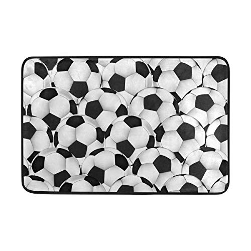 Not Slip Doormats Rugs White and Black Soccer Football Seamless Soft Foam Printing for Living Room Kids Bedroom Bathroom Door Mats 23.6x15.7 inch Cheap Rugs Black Rug