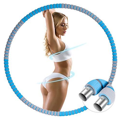 GIEADUN Hula Hoop Reifen für Erwachsene, Abnehmbarer Hoola Hoop Reifen von 1,2 bis 3,2kg für schmerzempfindliche und Profis, hullahub Reifen für Abnehmen, Fitness, Massage (Dunkel blau/grau)