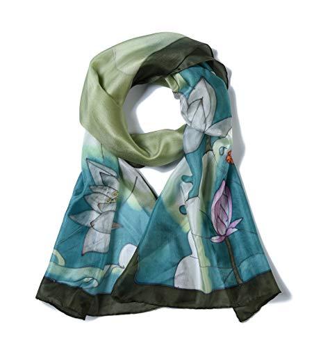 Invisible World – Damen Seidentuch handbemalt – langes Halstuch Kopftuch und Haartuch – Libellen und Lotusblüten Grau-Grün