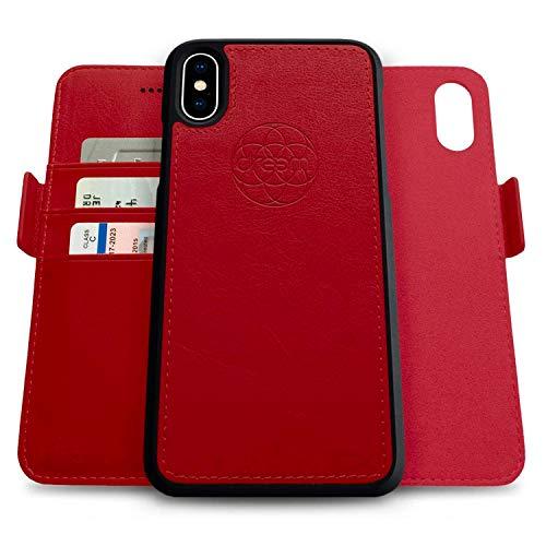 Dreem Fibonacci 2in1 Handyhülle Flipcase für iPhone X/Xs | Magnetisches iPhone Case | TPU Etui Lederhülle Schutzhülle, RFID Schutz, Veganes Kunstleder, Geschenkbox | Rot