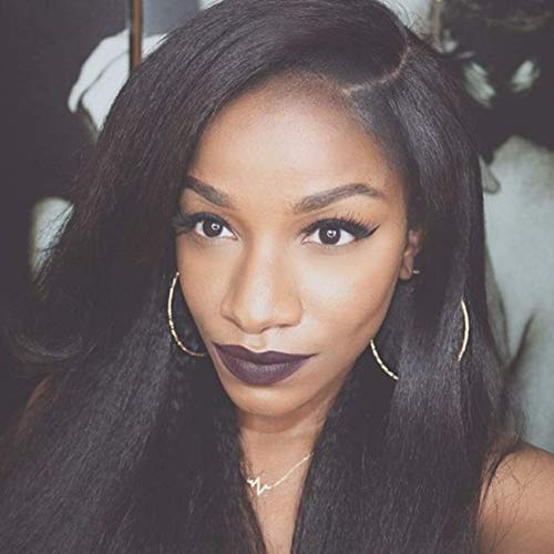 "MS.ILSA Italian Yaki Left U Part Wigs for Black Women 150 Density Brazilian Remy Human Hair Wigs Cheap Kinky Straight Non Lace Wigs for African Americans 16"" Natural Color"