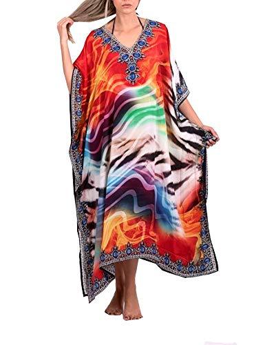 FSMO Elegante poncho de playa para mujer, estampado étnico, caftán ahumado, maxivestido multicolor Talla única