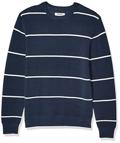 Amazon Brand -Goodthreads Men's Soft Cotton Ottoman Stitch Crewneck Sweater, Navy Heather Grey Stripe Large