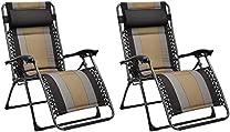 Amazon Basics Padded Zero Gravity Patio Chair - Black, 2-Pack