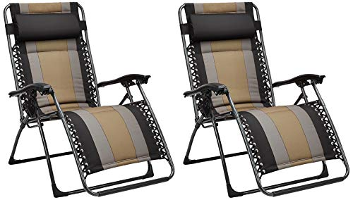 Amazon Basics - Set de 2 sillas acolchadas con gravedad cero - de color negro