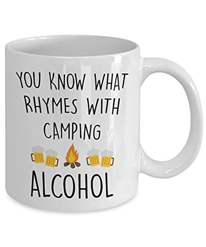 Taza de camping divertida y divertida con alcohol para acampar, taza de café de 11 onzas, divertida y única taza de regalo para él y mujer, regalos de Navidad, Día de la Madre, cumpleaños, etc