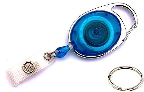 Waizmann.IDeaS® STAHLSEIL Ausweisjojo Jojo Zipper oval Schlaufenclip Aufrollmechanismus textilverstärkter Lasche
