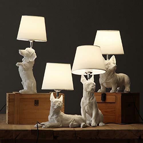 Art Deco hars tafellamp slaapkamer woonkamer kinderkamer nachtlampje hond post bureau lamp zwart met lampenkap