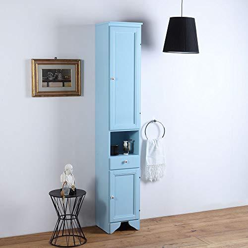 Columna de tierra de dos puertas, cajón y compartimento azul decapé lavanda 33,5 x 196 cm