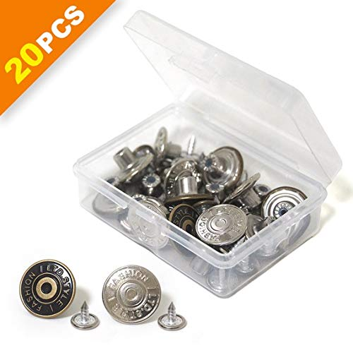 20 Sets Replacement Jean Buttons, 17mm Combo Copper Tack Buttons Replacement Kit with Rivets and Metal Base in Plastic Storage Box