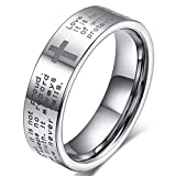 Fashion Month Men Women 6mm Tungsten Carbide White Ring Engraved English Bible Verses About Love Cross Band for Her Him Size 10