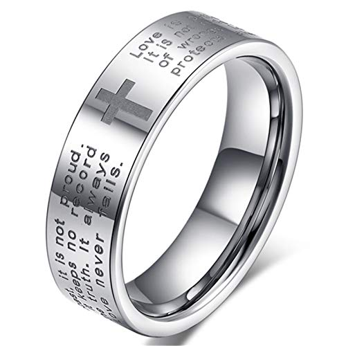 Fashion Month Men Women 6mm Tungsten Carbide White Ring Engraved English Bible Verses About Love Cross Band for Her Him Size 9