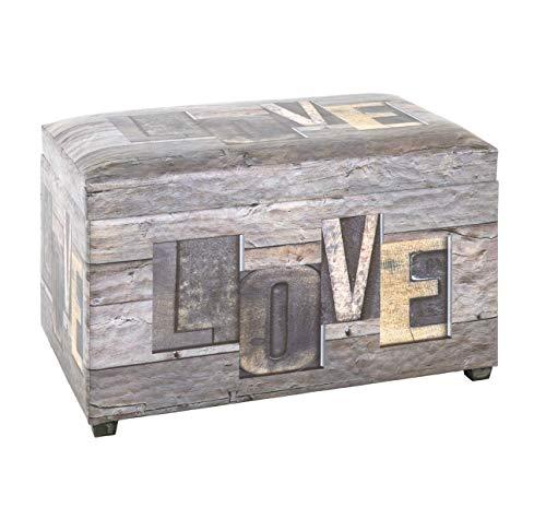 PEGANE Coffre de Rangement Imitation Cuir Motif Love - 65 x 40 x 42 cm