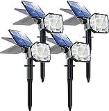 Biling Focos solares para Exteriores,30 LED 2-en-1 Luces solares para paisajes,Focos para jardín Ajustables,IP67 Luces de Pared con energía Solar a Prueba de agua-4PC(Blanco)