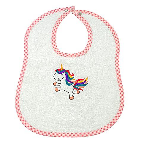 my STITCHERY® Lätzchen mit Einhorn Motiv & Druckknopf, Latz für Babys, Mädchen & Jungs, buntes Einhorn, 100% Baumwolle, rosa, Frottee, flauschig