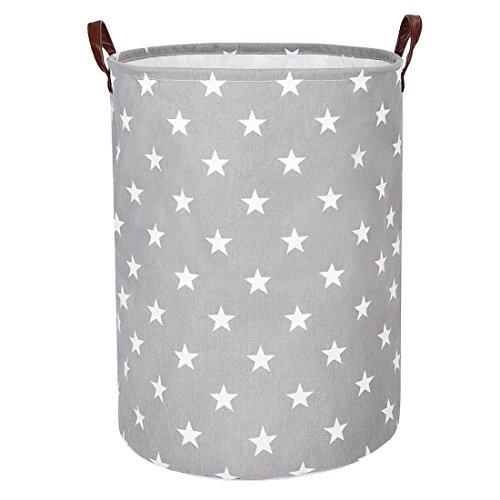 DOKEHOM 22-Inches Verdickte Faltbare Runde Lagerung Wäschekörbe, Baumwolle (Grau Star, XL) EINWEG