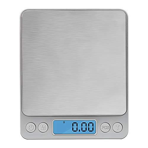 Zorara Digitale Küchenwaage, 3kg/0,1g Küchenwaage Digitalwaage, Präzisionswaage Elektronische Waage Küchen Haushaltswaage, Hohe Präzision Briefwaage, Stückzählung Funktion, LCD-Display (Silber)