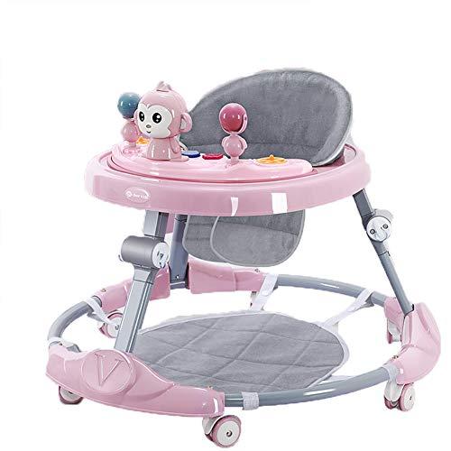Tsosginaog Höhenverstellbare Baby Walker Für Jungen Und Mädchen, Faltbarer Rollator Mit Rädern, Anti-o-Leg Baby Walker, Geeignet Für 6-18 Monate,Rosa,C