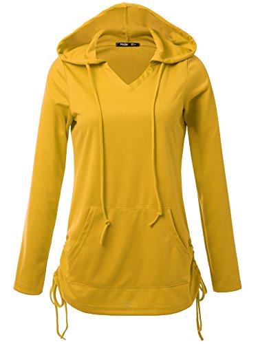 JayJay Women Lace Up Sweat Casual Long Sleeve Hoodie Lightweight Sweatshirt,Mustard,2XL