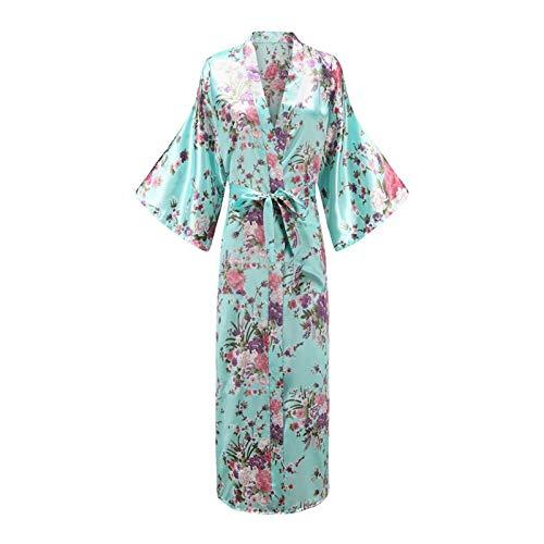 TingLiao Übergröße XXXL Chinesischer Frauen langer Robe Print Blume Pfau Kimono...