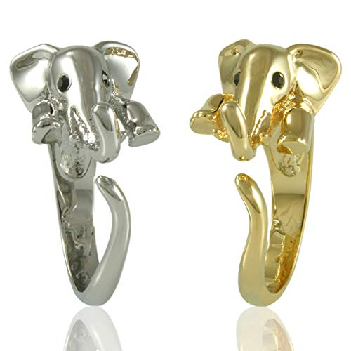 Enhanced Elephant Adjustable Animal Wrap Ring 2 Piece Set Shiny Silver and Gold- Size 5 22k Gold Fancy Ring