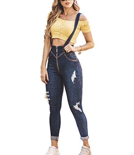 Damesjeans Jumpsuit Mode Ripped Hole Jarreteljeans Strakke denim jumpsuit