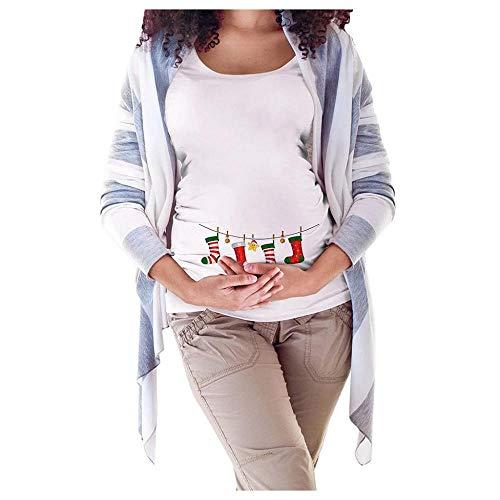 Doublehero Damen Schwanger t Shirt Weihnachten Druck Oberteile Kurzarm Stillshirt Umstandsshirts Casual Tops Mode Mama Kleidung Umstandstunika Schwanger T-Shirt Umstandsshirt (XL, C)
