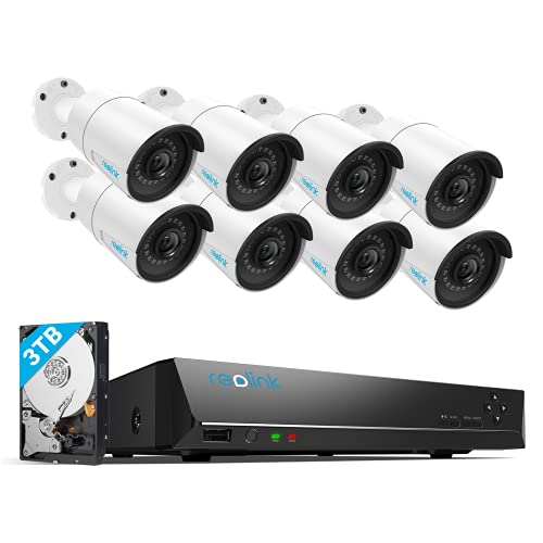 REOLINK 16CH 5MP Home Security Camera System, 8pcs Wired 5MP Outdoor PoE IP Cameras, 8MP 16CH NVR with 3TB HDD for 24-7 Recording, RLK16-410B8-5MP