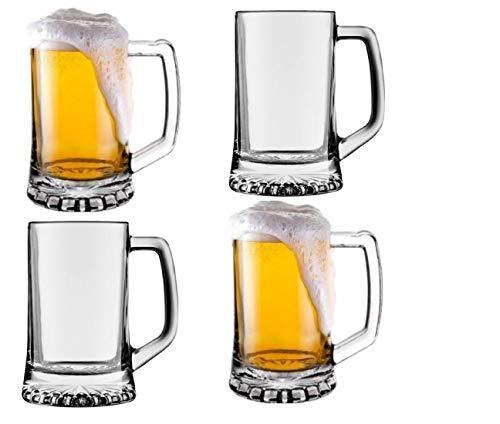 Pack de 4 Jarras para Cerveza - Vasos Jarra de Cristal Resistente 383ml Cada Jarra